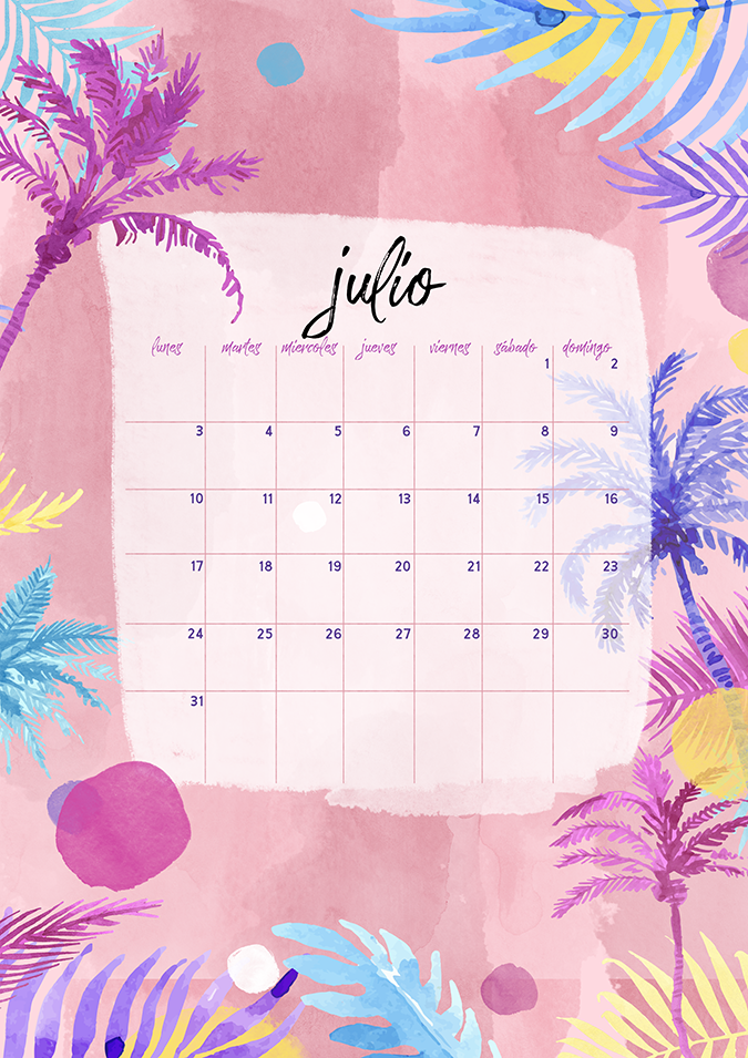 calendario julio imprimible y pantalla