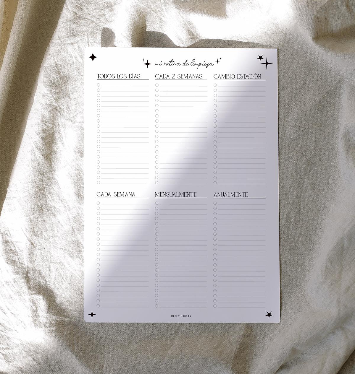imprimible planificador de limpieza